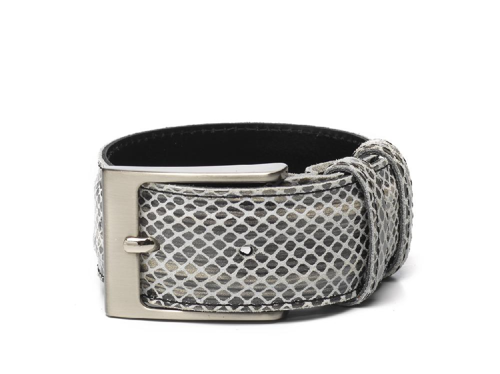 Belt Black Beige Print / White BG