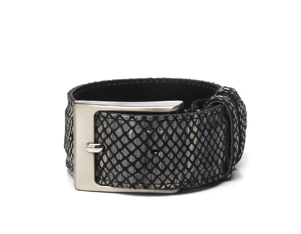 Belt Black Beige Print - Berkelmans